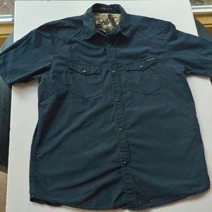 Volcom Pearl Snap Western Shirt Black Medium